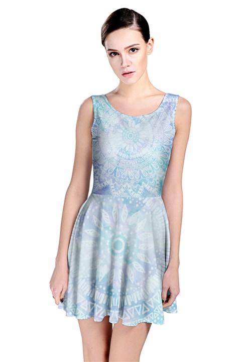 BLUE MANDALA Skater Dress