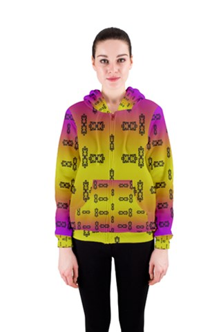 Rainbow and Decorative Women s Zipper Hoodie