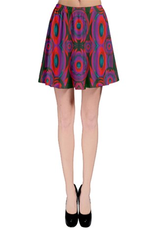 Almost rainbow flowers in a pond in water Skater Skirt