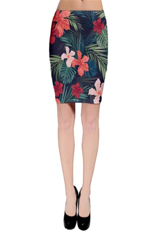 Blue Tropical Floral Bodycon Skirt