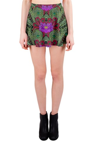 Metal Peacock In paradise Land Mini Skirt