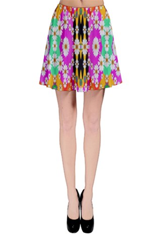 flowers above and under the peaceful sky Skater Skirt