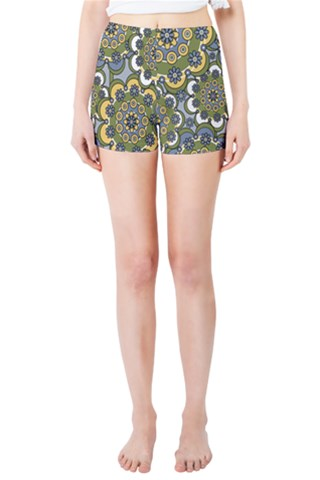 Green Flowers Skinny Shorts