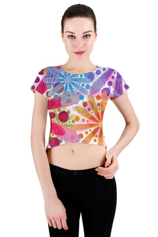 Fireworks Crew Neck Crop Top