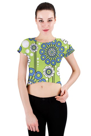 Blue Flowers Crew Neck Crop Top