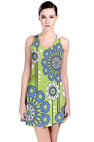 Blue Flowers Reversible Sleeveless Dress