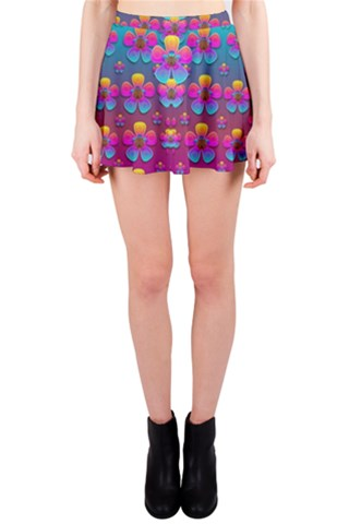 Freedom Peace Flowers Raining In Rainbows Mini Skirt