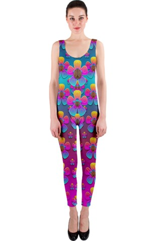 Freedom Peace Flowers Raining In Rainbows OnePiece Catsuit