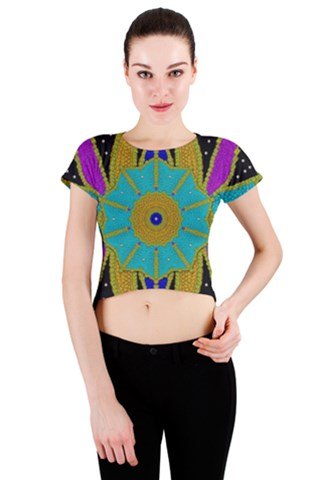 Gothic Night In Rainbow dark sky Crew Neck Crop Top