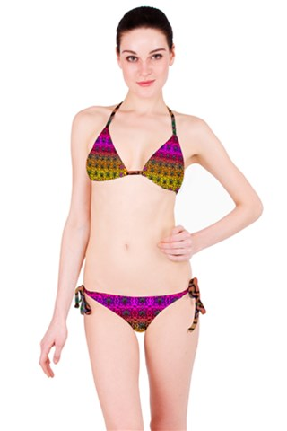 Butterflies flowers and panda bears in heavy metal style Bikini Set