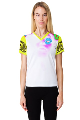 Alien Nation by Rissarae Designs Women s V-Neck Sport Mesh Tee