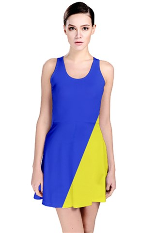 Blue Yellow Reversible Sleeveless Dress