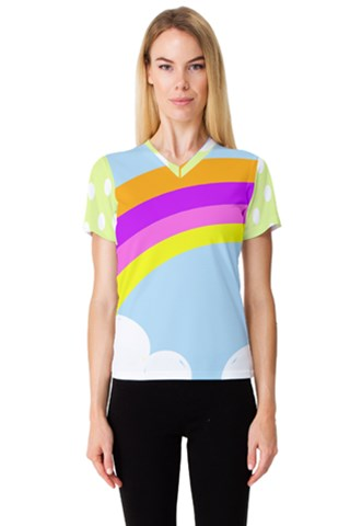 Rainbow Women s V-Neck Sport Mesh Tee