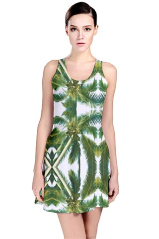 Palm Tree Kaleidoscope Reversible Sleeveless Dress