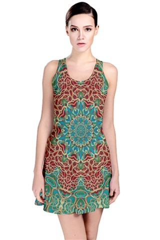 The wooden heart mandala,giving calm Reversible Sleeveless Dress