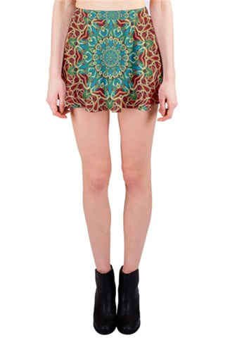 The wooden heart mandala,giving calm Mini Skirt