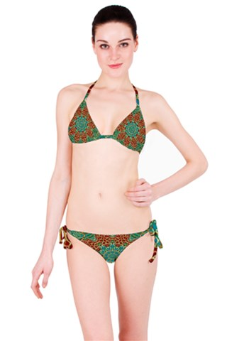The wooden heart mandala,giving calm Bikini Set