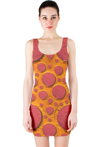 Polka Dots In a Pizza style Popart Bodycon Dress