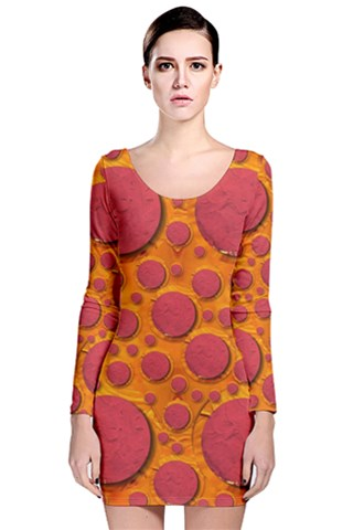 Polka Dots In a Pizza style Popart Long Sleeve Bodycon Dress