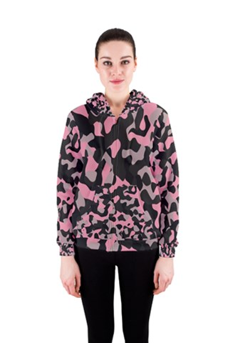 black and pink camo Women s Zipper Hoodie