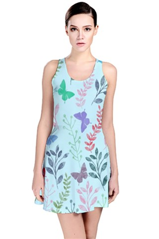 Watercolor Flowers & Butterflies  Reversible Sleeveless Dress
