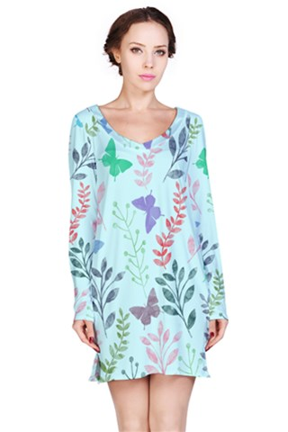 Watercolor Flowers & Butterflies  Long Sleeve Nightdress