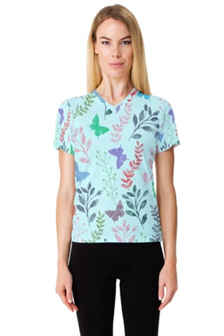 Watercolor Flowers & Butterflies  Women s V-Neck Sport Mesh Tee