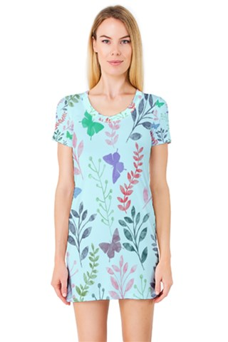 Watercolor Flowers & Butterflies  Short Sleeve Nightdress