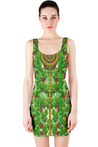 The Golden Moon Over The Holiday Forest Bodycon Dress