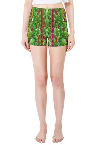 The Golden Moon Over The Holiday Forest Skinny Shorts