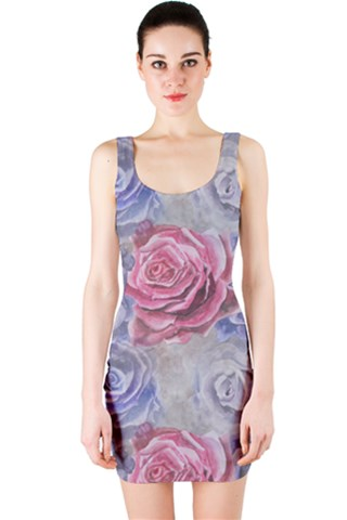 Red and Purple Roses Bodycon Dress
