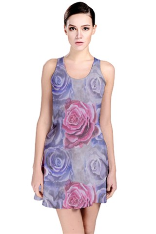 Red and Purple Roses Reversible Sleeveless Dress