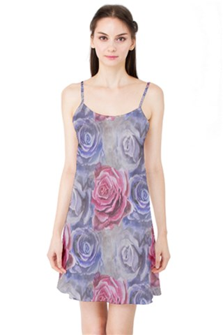 Red and Purple Roses Satin Night Slip