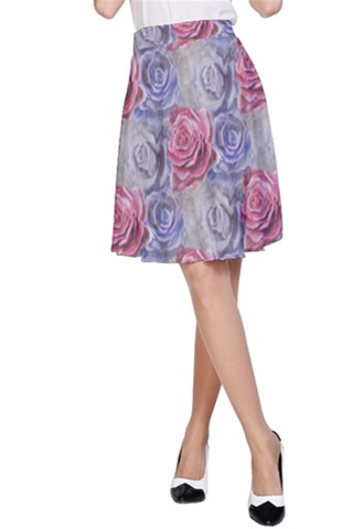 Red and Purple Roses A-Line Skirt