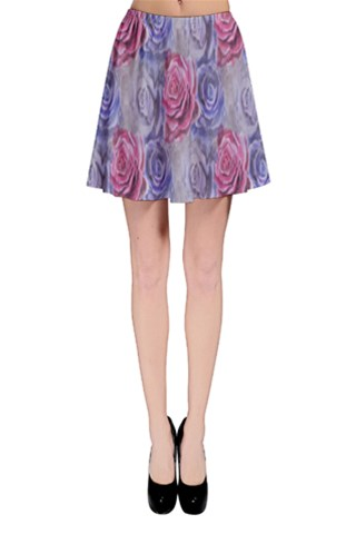 Red and Purple Roses Skater Skirt