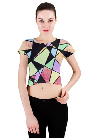 Abstract Geometry Crew Neck Crop Top